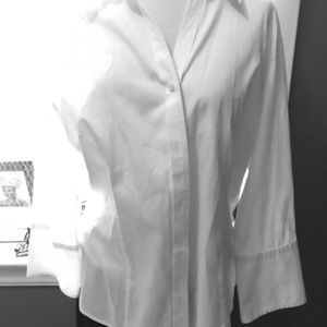 Talbots white button down shirt 3/4 sleeves large